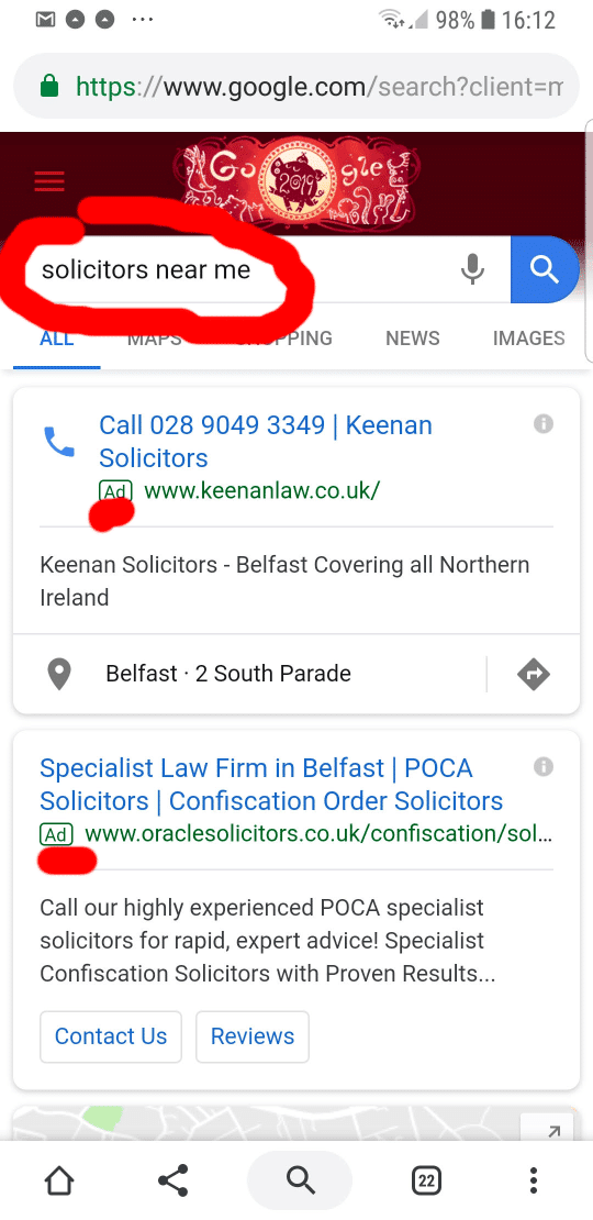 Solicitors near me searches on Mobile
